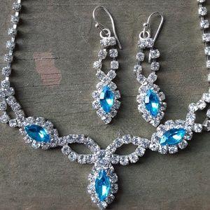 Women's Vintage Aquamarine Waterdrop Jewelry Set